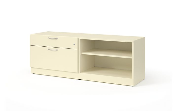 "HON Contain 60""W Right-hand Combo Credenza White Front Side View HSCBX226018RBFOMA.T3.L"