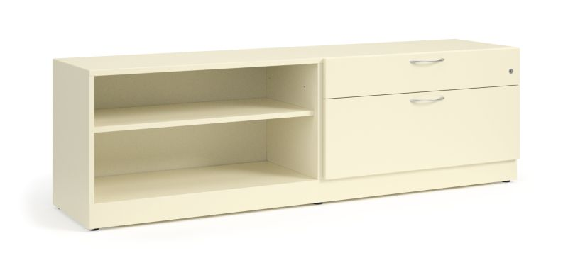 "HON Contain 72""W Right-hand Combo Credenza White Front Side View HSCBX227218RBFOMA"