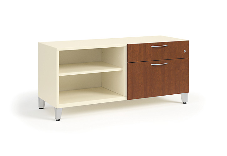 "HON Contain 48""W Right-hand Combo Footed Credenza White Brown Doors Front Side View HSCSF224818RBFOMA"