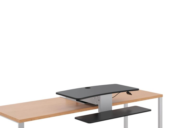 HON Directional Desktop Sit-To-Stand Device Lowered Front Side View HS1100