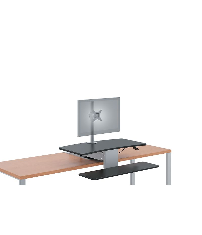 HON Directional Desktop Sit-To-Stand Device Lowered Front Side View HS1101