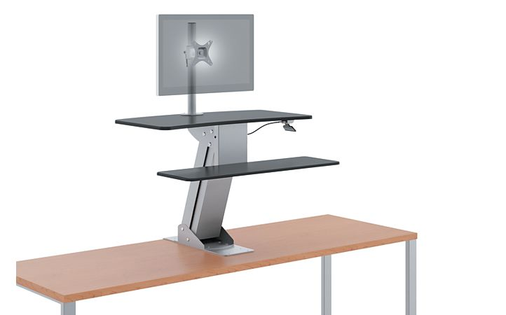 HON Directional Desktop Sit-To-Stand Device Raised Front Side View HS1101
