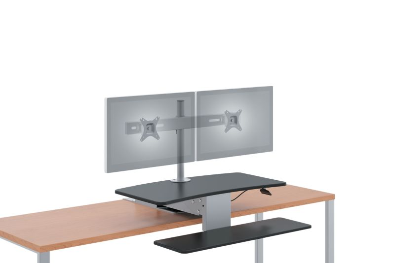HON Directional Desktop Sit-To-Stand Device with Dual Monitor Arm Lowered Front Side View HS1102