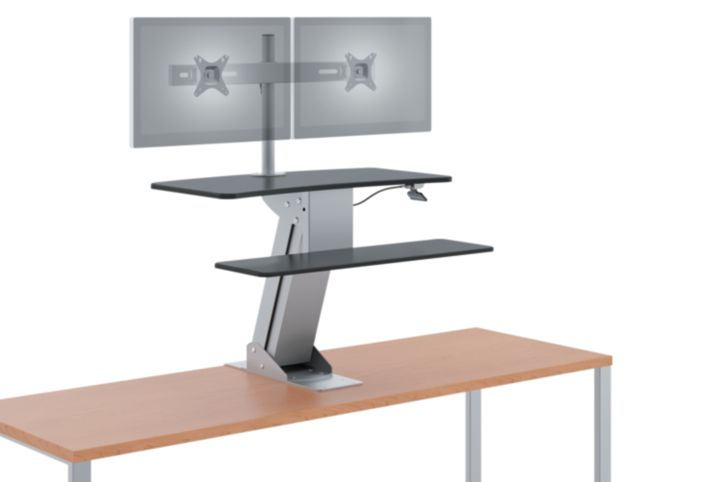 HON Directional Desktop Sit-To-Stand Device with Dual Monitor Arm Raised Front Side View HS1102