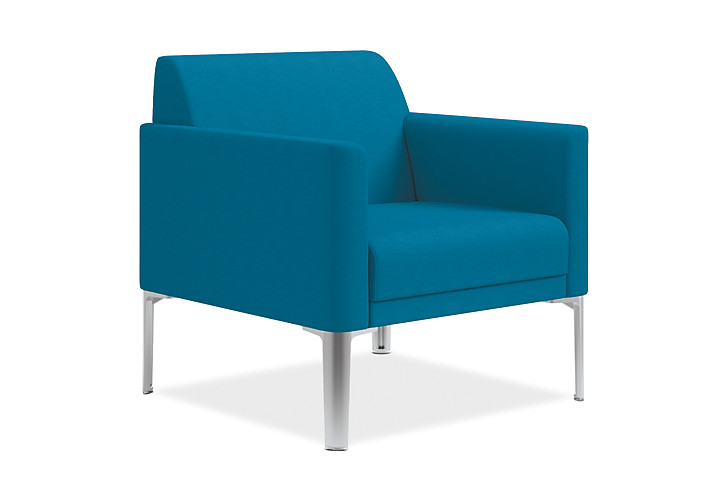 HON Endorse Collection Single Seat Lounge Appoint Seating Turquoise Color Front Side View HL1SL.RL.PNS006.P6N