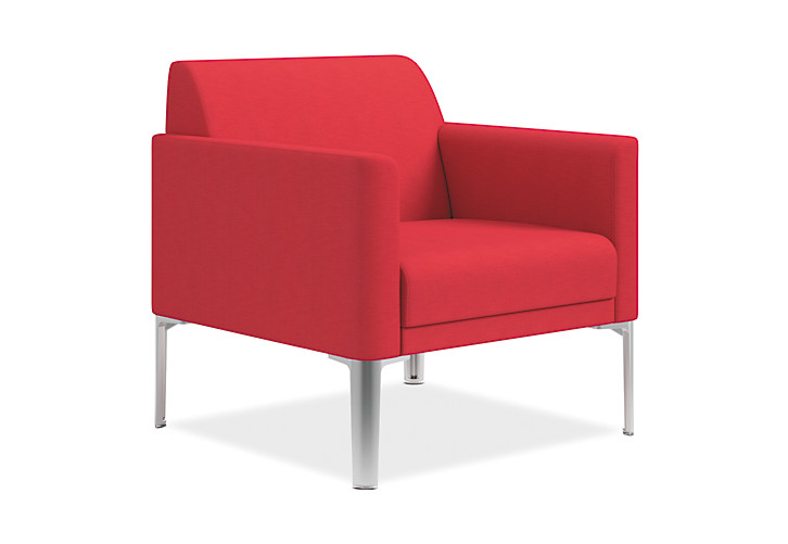 HON Endorse Collection Single Seat Lounge Appoint Seating Cherry Color Front Side View HL1SL.RL.PNS010.P6N