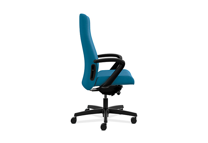 HON Endorse Collection Executive High-back Upholstered Back Chair Appoint Seating Turquoise Color Fixed Arms Side View HLEU.Y2.F.H.PNS006.SB