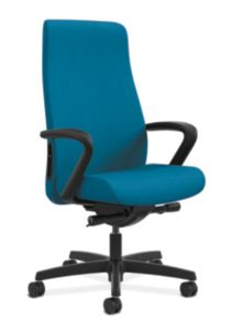HON Endorse Collection Executive High-back Upholstered Back Chair Appoint Seating Turquoise Color Fixed Arms Front Side View HLEU.Y2.F.PNS006.SB