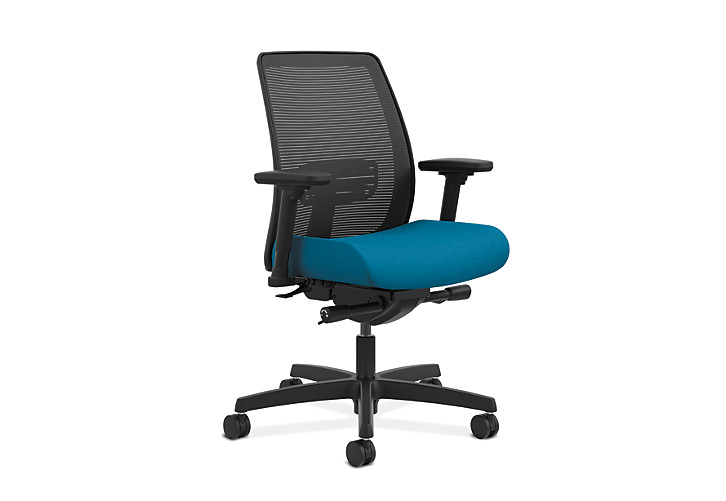 HON Endorse Collection Task Low-back Mesh Back Appoint Seating Turquoise Adjustable Arms Front Side View HLTM.Y2.V.H.IM.PNS006.SB