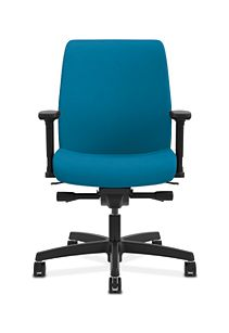 HON Endorse Collection Task Low-back Plastic Back Appoint Seating Turquoise Adjustable Arms Front View HLTP.Y2.V.H.PNS006.SB
