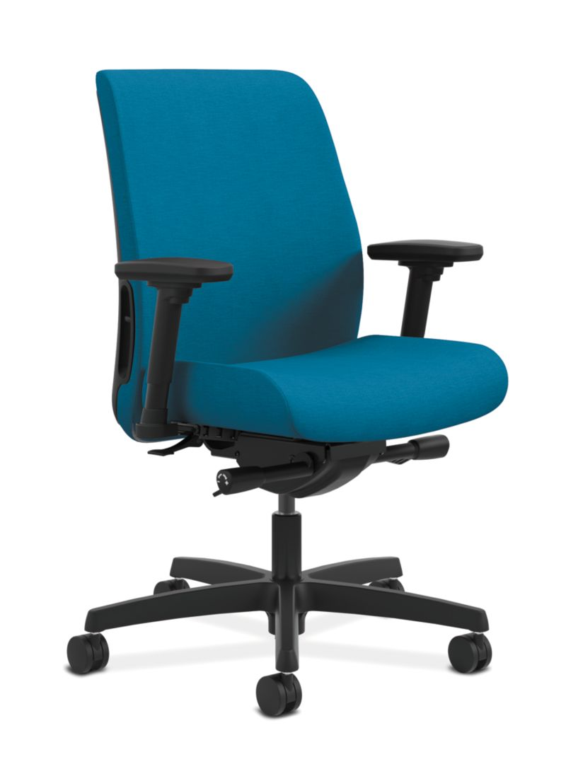 HON Endorse Collection Task Low-back Plastic Back Appoint Seating Turquoise Adjustable Arms Front Side View HLTP.Y2.V.H.PNS006.SB