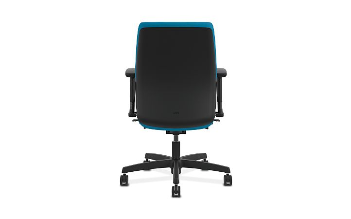 HON Endorse Collection Task Low-back Plastic Back Appoint Seating Turquoise Adjustable Arms Back View HLTP.Y2.V.H.PNS006.SB