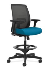 HON Endorse Collection Mesh Back Task Stool Appoint Seating Turquoise Adjustable Arms Front Side View HLTSM.Y1.V.H.IX.PNS006.SB