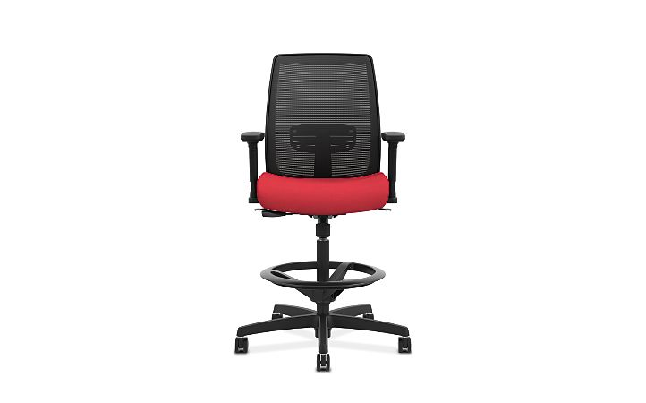 HON Endorse Collection Mesh Back Task Stool Appoint Seating Cherry Adjustable Arms Front View HLTSM.Y1.V.H.PNS010.SB