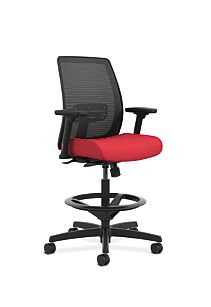 HON Endorse Collection Mesh Back Task Stool Appoint Seating Cherry Adjustable Arms Front Side View HLTSM.Y1.V.H.PNS010.SB