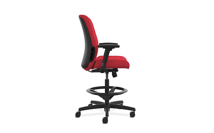 HON Endorse Collection Task Stool Plastic Back Appoint Seating Cherry Color Adjustable Arms Side View HLTSP.Y1.V.H.PNS010.SB