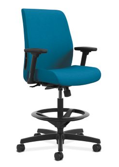 HON Endorse Collection Task Stool Upholstered Back Appoint Seating Turquoise Adjustable Arms Front Side View HLTSU.Y1.V.H.PNS006.SB