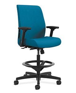 HON Endorse Collection Task Stool Upholstered Back Appoint Seating Turquoise Adjustable Arms Front Side View HLTSU.Y1.V.H.PNS006.SB