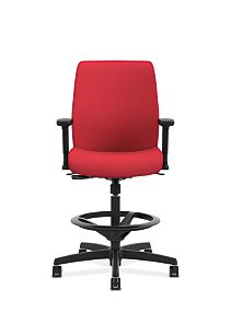 HON Endorse Collection Task Stool Upholstered Back Appoint Seating Cherry Adjustable Arms Front View HLTSU.Y1.V.H.PNS010.SB