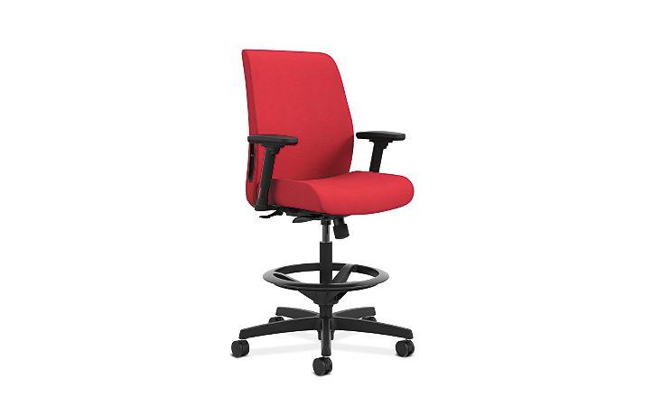 HON Endorse Collection Task Stool Upholstered Back Appoint Seating Cherry Adjustable Arms Front Side View HLTSU.Y1.V.H.PNS010.SB