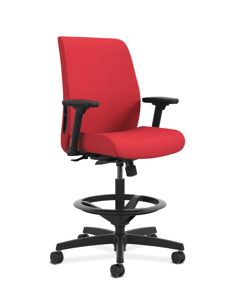 HON Endorse Collection Task Stool Upholstered Back Appoint Seating Cherry Adjustable Arms Front Side View HLTSU.Y1.V.H.PNS010.SB