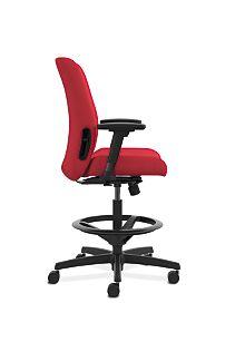 HON Endorse Collection Task Stool Upholstered Back Appoint Seating Cherry Adjustable Arms Side View HLTSU.Y1.V.H.PNS010.SB
