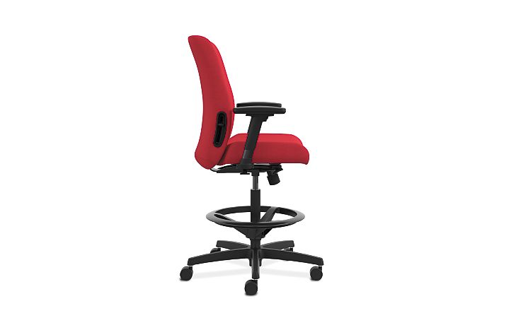 HON Endorse Collection Task Stool Upholstered Back Appoint Seating Cherry Adjustable Arms Side View HLTSU.Y1.V.H.PNS010.SB
