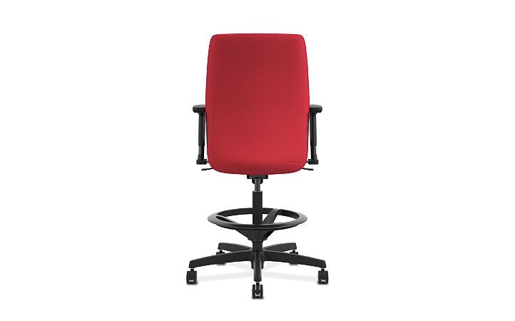 HON Endorse Collection Task Stool Upholstered Back Appoint Seating Cherry Adjustable Arms Back View HLTSU.Y1.V.H.PNS010.SB