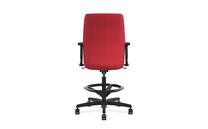 HON Endorse Collection Task Stool Upholstered Back Appoint Seating Cherry Adjustable Arms Back View HLTSU.Y1.V.H.PNS010.SB