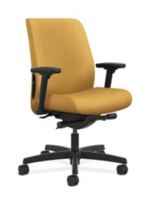 HON Endorse Collection Task Low-back Upholstered Back Inertia Mustard Adjustable Arms Front Side View HLTU.Y2.V.H.NR26.SB