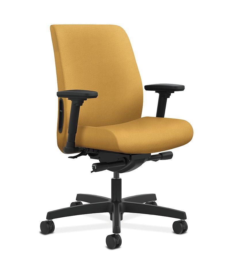 HON Endorse Collection Task Low-back Upholstered Back Inertia Mustard Adjustable Arms Front Side View HLTU.Y2.V.H.NR26.SB