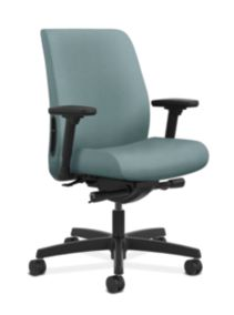HON Endorse Collection Task Low-back Upholstered Back Inertia Surf Adjustable Arms Front Side View HLTU.Y2.V.H.NR96.SB