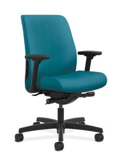 HON Endorse Collection Task Low-back Upholstered Back Inertia Calypso Adjustable Arms Front Side View HLTU.Y2.V.H.NR98.SB