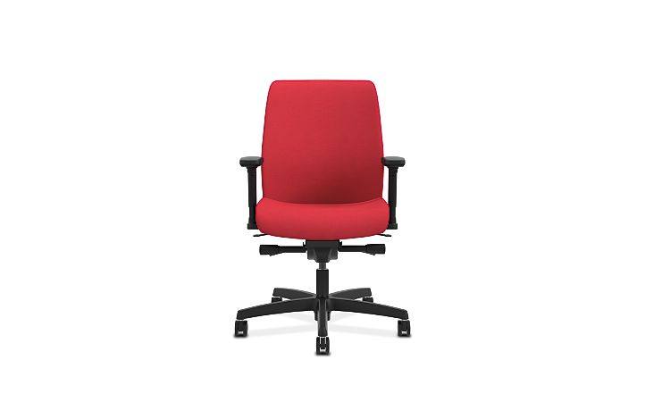 HON Endorse Collection Task Low-back Upholstered Back Appoint Seating Cherry Adjustable Arms Front View HLTU.Y2.V.H.PNS010.SB
