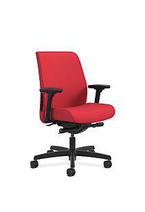 HON Endorse Collection Task Low-back Upholstered Back Appoint Seating Cherry Adjustable Arms Front Side View HLTU.Y2.V.H.PNS010.SB