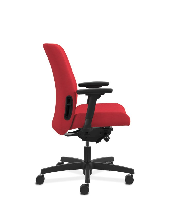HON Endorse Collection Task Low-back Upholstered Back Appoint Seating Cherry Adjustable Arms Side View HLTU.Y2.V.H.PNS010.SB