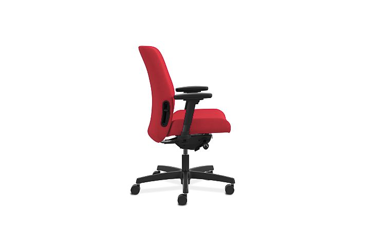 HON Endorse Collection Task Low-back Upholstered Back Appoint Seating Cherry Adjustable Arms Side View HLTU.Y2.V.H.PNS010.SB