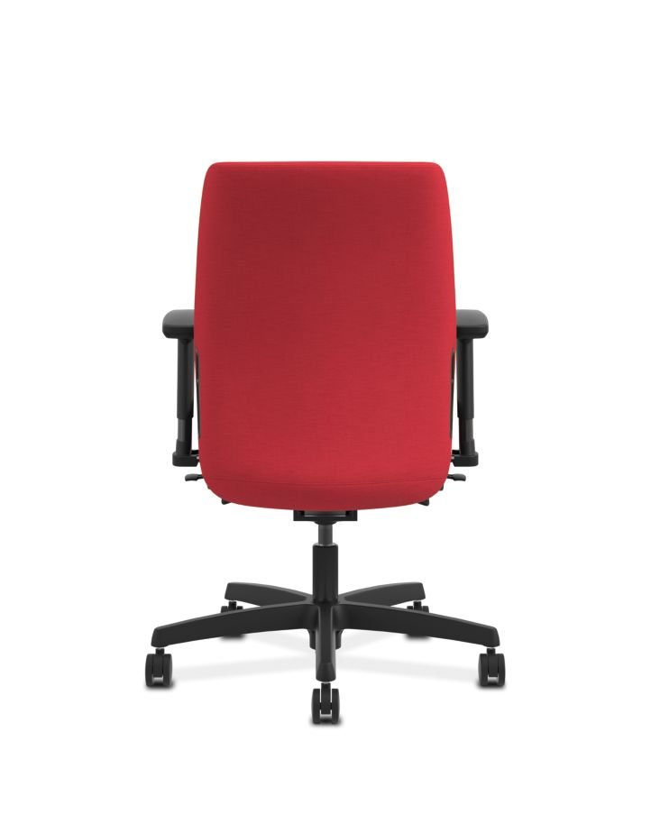 HON Endorse Collection Task Low-back Upholstered Back Appoint Seating Cherry Adjustable Arms Back View HLTU.Y2.V.H.PNS010.SB