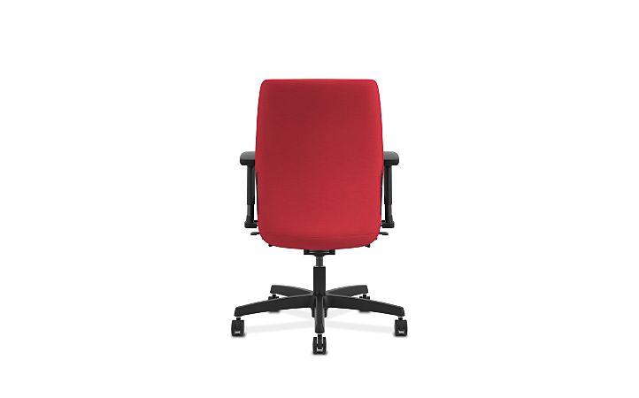HON Endorse Collection Task Low-back Upholstered Back Appoint Seating Cherry Adjustable Arms Back View HLTU.Y2.V.H.PNS010.SB