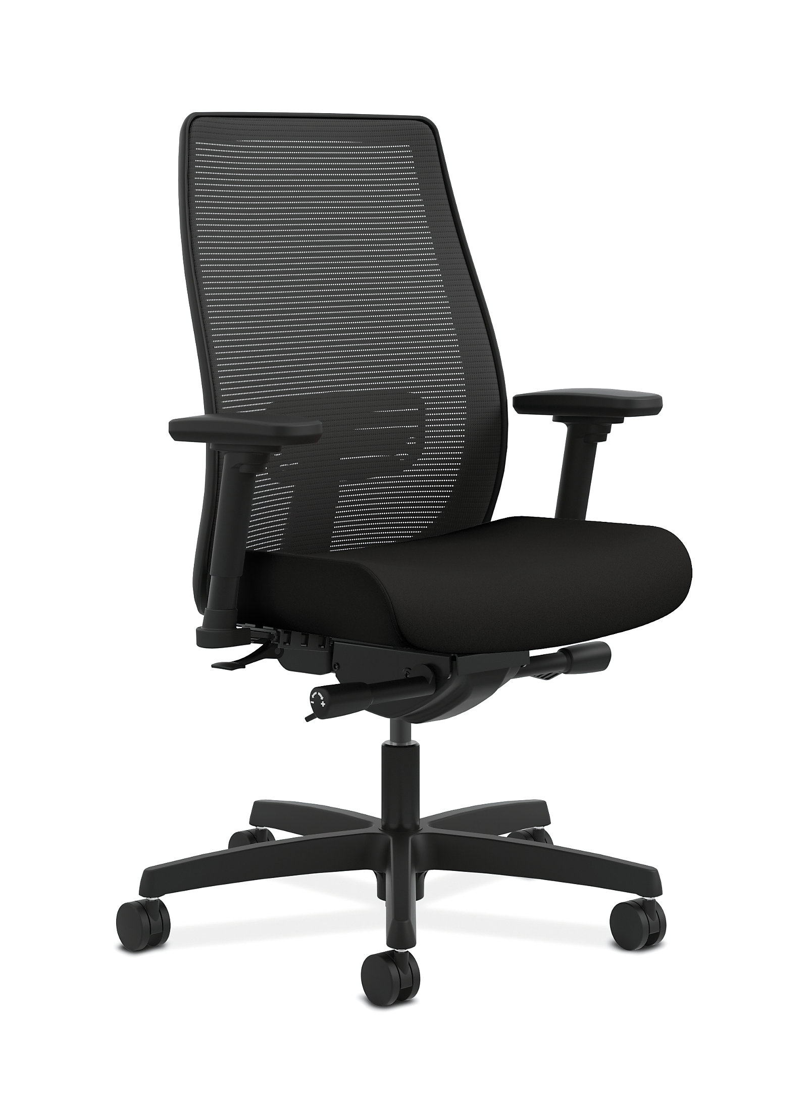 Office chair back view - Hon Endorse Collection Mesh Mid Back Task Chair Black Front Side View Hlwm Y2