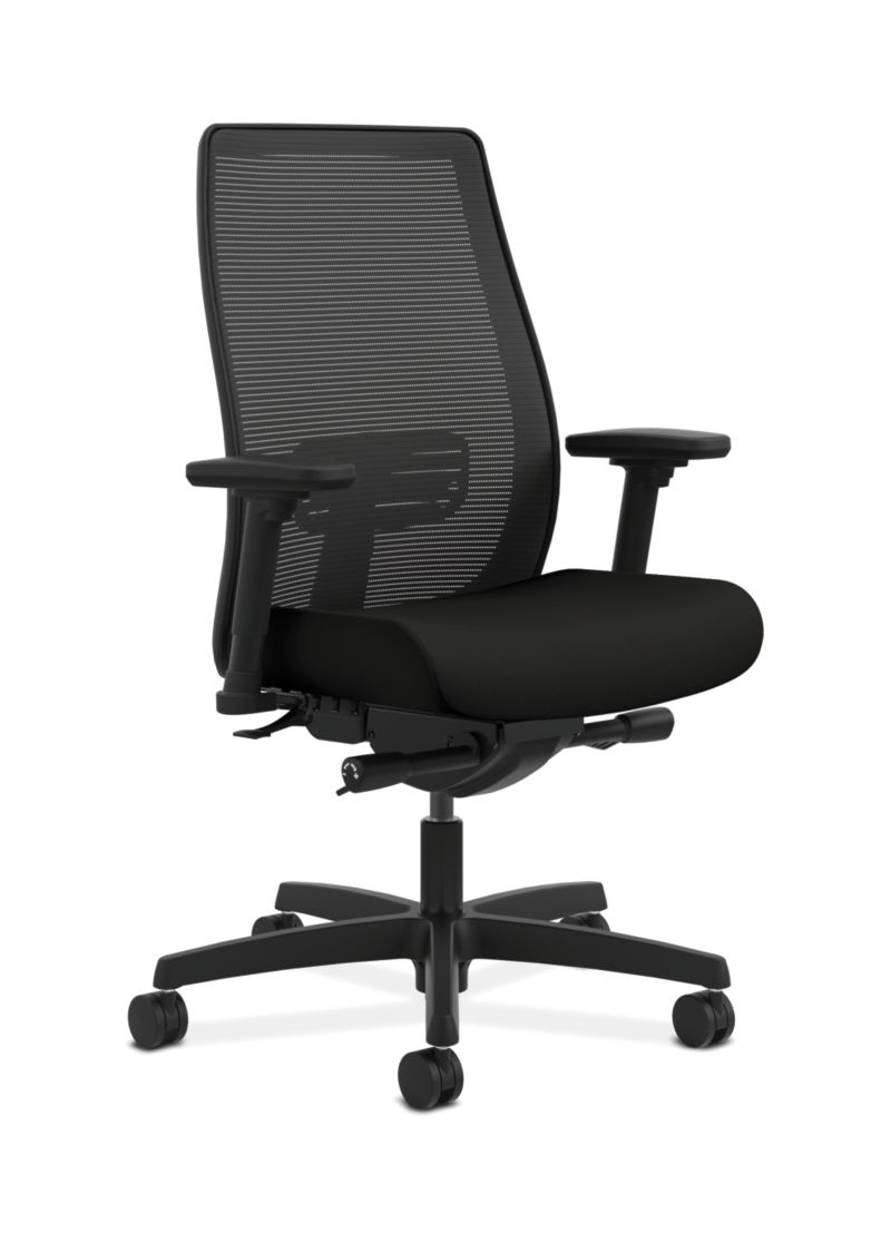 HON Endorse Collection Mesh Mid-Back Task Chair Black Front Side View HLWM.Y2.A.H.IM.CU10.SB.N