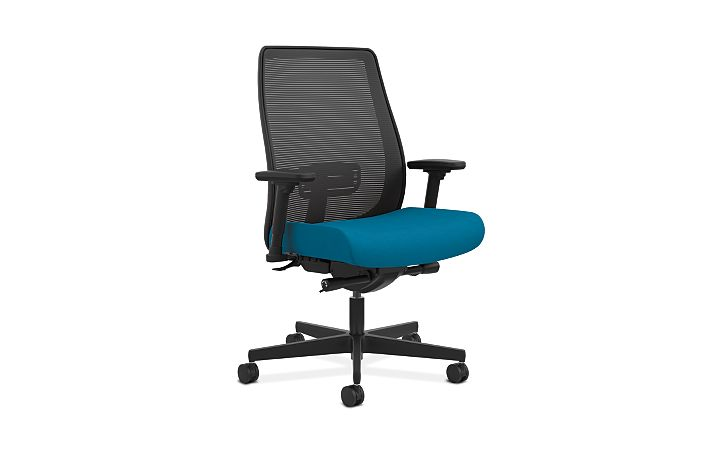 HON Endorse Collection Mesh Mid-Back Big and Tall Task Chair Appoint Seating Turquoise Adjustable Arms Front Side View HLWMBT.Y2.V.H.X1.PNS006.SB
