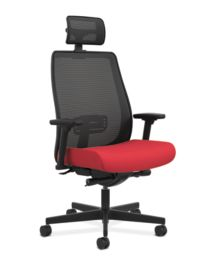 HON Endorse Collection Mesh Mid-Back Task Chair Red Head Rest Front Side View HLWMBT.Y4.A.H.IM.PNS010.SB.HR