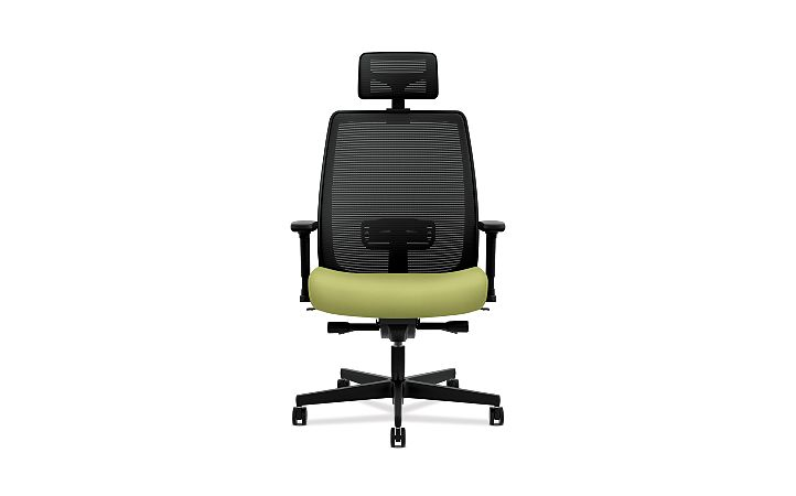 HON Endorse Collection Mesh Mid-Back Big and Tall Task Chair Inertia Lime Adjustable Arms Head Rest Back View HLWMBT.Y4.V.A.IM.NR82.SB.HR
