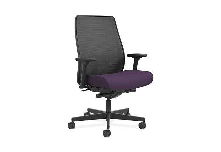 HON Endorse Collection Mesh Mid-Back Big and Tall Task Chair Odyssey Iris Adjustable Arms Front Side View HLWMBT.Y4.V.A.IM.SMOMODY78.SB.N