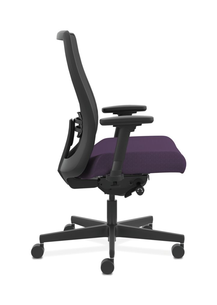 HON Endorse Collection Mesh Mid-Back Big and Tall Task Chair Odyssey Iris Adjustable Arms Side View HLWMBT.Y4.V.A.IM.SMOMODY78.SB.N