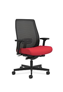 HON Endorse Collection Mesh Mid-Back Big and Tall Task Chair Appoint Seating Cherry Adjustable Arms Front Side View HLWMBT.Y4.V.H.IM.PNS010.SB.N