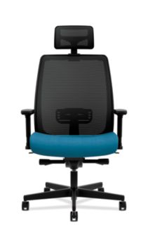 HON Endorse Collection Mesh Mid-Back Big and Tall Task Chair Appoint Seating Turquoise Adjustable Arms Head Rest Front View HLWMBTHR.Y2.V.H.IM.PNS006