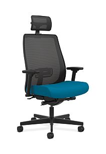 HON Endorse Collection Mesh Mid-Back Big and Tall Task Chair Appoint Seating Turquoise Adjustable Arms Head Rest Front Side View HLWMBTHR.Y2.V.H.X1.PNS006