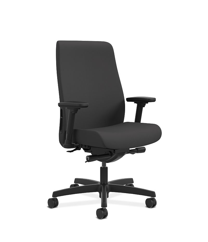 HON Endorse Collection Mid-Back Task Chair Cerulean Black Adjustable Arms Front Side View HLWU.Y2.A.H.CU10.SB